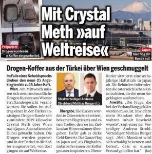 Tageszeitung ÖSTERREICH Crystal Meth Rechtsanwalt Mag. Andreas Strobl Verteidiger in Strafsachen Suchtmittel